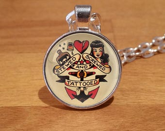 Sailor Jerry Necklace, stewed screwed and tattooed necklace, tattoo, tattoos, tattoo necklace, Silver Plated necklace (65s)