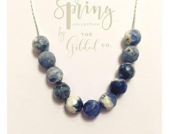 "Blaine Collar — sodalite necklace, silver-plated 24"" snake chain, white blue stone beads dainty Valentine's Day gift nashville minimalist"