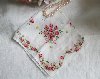 Vintage Hankie Floral Handkerchief  Red and Pink Roses Hanky Shabby Cottage Chic