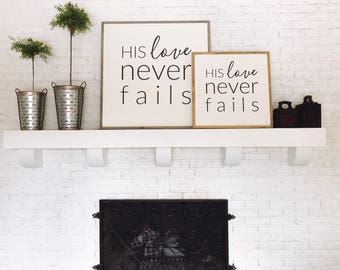 1'x1' | His love never fails | Square sign