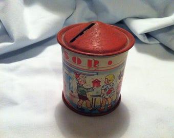 Antique Money Box Tin Can lithograph Litho