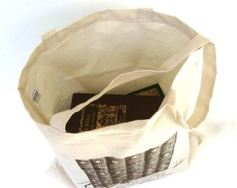 Jane Austen Book Bag, Pride and Prejudice Quote, Austen Tote Bag, Austen Wedding Bag, Book Tote, Library Bag, School Bag, College Book Bag