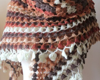 Shawl Brown Ivory Beautiful Triangle Earth Shawl READY TO SHIPPING