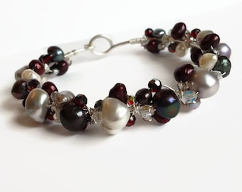 Pearl and Crystal Wire Bangle Bracelet - Gray Cranberry Bracelet