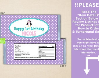 Penguin Chocolate Bar Wrappers - Penguin Candy Bar Wrapper - Polka Dot Candy Bar Wrapper - Digital & Printed Available