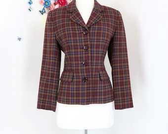 1980s Vintage Plaid Blazer - Burgundy Brown - Classic Wool Blazer - Tailored Jacket - 80s Does 40s - Size XS/S Petite - Office Appropriate