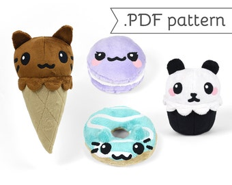 Dessert Plush Animals - Compilation of 4 .pdf Sewing Patterns Cupcake Ice Cream Cone Donut Cookie Sandwich Oreo