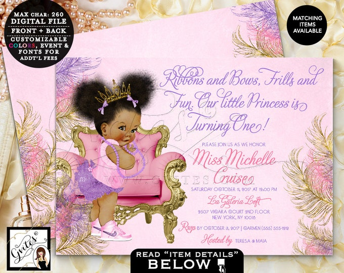 "Purple and Gold, Pink and Purple Birthday Invitations, Princess First Birthday, African American Baby Girl Vintage, tutus pearls 7x5"" Gvites"
