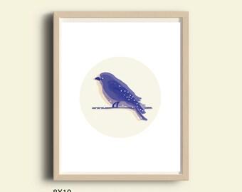 Home decor wall art, printable wall art decor, home decor printable poster, instant download printable art, bird, blue art, bedroom wall art