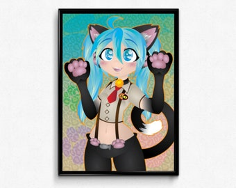 "Hatsune Miku ""Nyanko"" Poster Print"