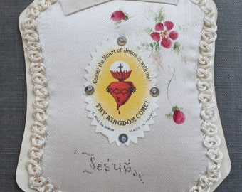 Antique Hand Painted Sacred Heart Detente / Large French Nun's Ex Voto on Silk