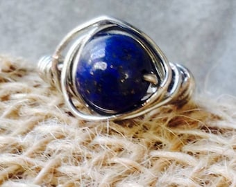 Sapphire Beaded Ring in a Nest of Silver Wire