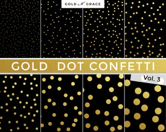 Gold Dot Confetti Digital Paper, Gold Scrapbook Paper, Instant Download Gold Paper, Gold Glitter, Gold Confetti, Gold Backgrounds, Gold Dots