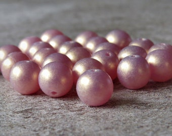 Pink Sueded Gold Czech Glass Bead 8mm Round Druk : 25 pc Pink Suede 8mm Druk