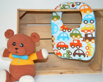 White cotton bib with colorful toy cars