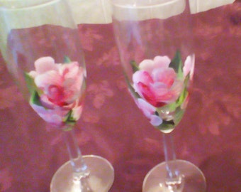 Hand painted Champagne glasses (2)