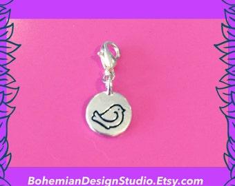 Bird charm, silver bird bracelet clip charm, cute and sweet bird charm, happy bird love charm, bohemian design studio