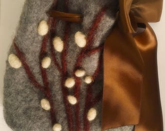 Handmade Wet and Needle Felted Coin Purse