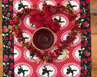"""44"""" Cupid, Hearts, and Rose Valentine Table Runner"""