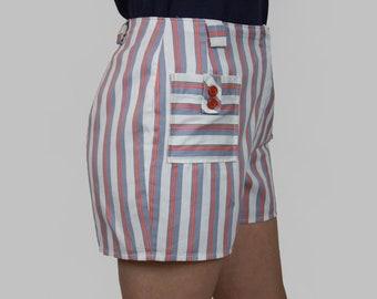 50s Pin Up Shorts Cotton Stripe White