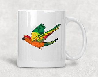 Sun Conure mug, parrot gift, conure parrot, pet parrot, bird mug, companion bird, parrots, feathered friend, parrot gift , sun conures