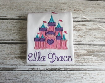 Cute Whimiscal Princess Castle Appliqued Shirt - Embroidered Shirt, Princess Castle, Personalized Shirt, Monogram, Girls, Baby, Toddler