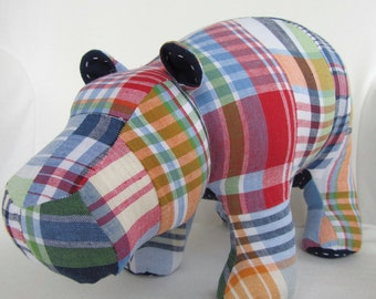 MADE TO ORDER - Harris - Madras Plush Hippo using fabric from Pottery Barn Kids Navy Madras Bedding Collection