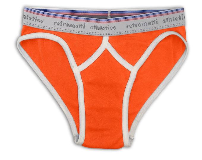 Retro low rise sport briefs in orange