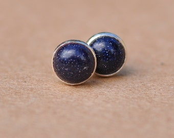 Goldstone earrings with Sterling Silver studs in Sparkly Midnight blue, 6mm