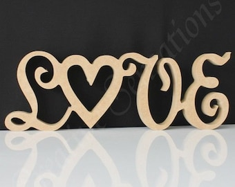LOVE 15cm Freestanding RAW MDF Wooden Word Wedding Wood Name Decoration Cutout