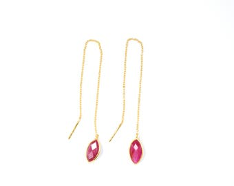 ruby earring, Threader Earrings,gemstone earring , birthstone earring , red color earring,chain earring , marquise  earring ,Ruby jewelry