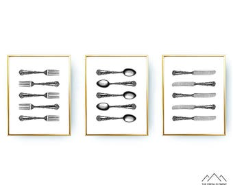 Set Of 3 Prints Kitchen Printable Wall Art Knife Spoon Fork Spoon Knife Fork Spoon Kitchen Wall Art Dinning Room Art Printable Poster 16x20
