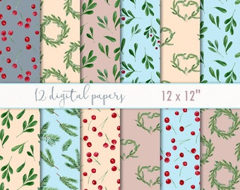 Winter digital paper pack - christmas watercolor paper - winter patterns - digital scrapbook paper -  scrapbook kit - digital clip art #p15