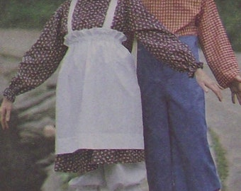 Raggedy Ann Raggedy Andy Mens Misses Costumes Sewing Pattern Size Medium (36, 38) McCalls 7743 Pullover Dress Apron Jumpsuit Bloomers Uncut
