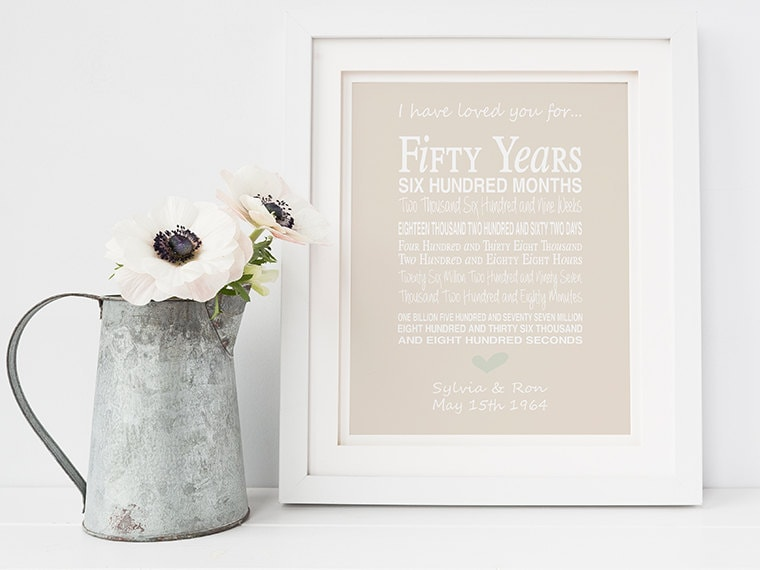 Personalised 50th Wedding Anniversary Gifts: 50th Wedding Anniversary Gift Personalised Anniversary Print