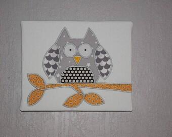 """Table cloth """"OWL"""" wood canvas"""