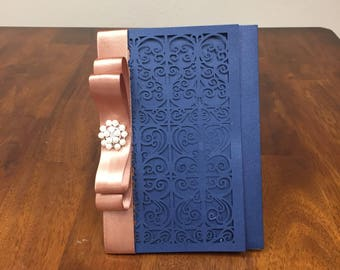 Gorgeous Scroll Navy Laser Cut Wedding Invitations with Rose Gold Ribbon and Brooch Optional Accent  - Navy Pocket Blush Wedding Invitations