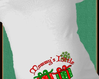 Mommy's Little Christmas Gifts Twins Maternity Shirt with 2 xmas gifts presents winter baby first announcement tshirt