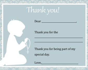 First Communion Thank You Card  - Digital file - You print / 1st Communion Thank You / Boys First Communion