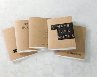 Set of 5 kraft books with lined pages / notebooks / Quotes
