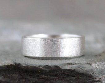 Sterling Silver Band - Men's Jewellery - Wedding Band - Brushed Matte Finish - Commitment Rings – 6 mm – Made in Canada