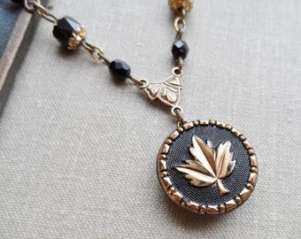 Vintage German Glass Button Necklace, Gold Leaf with Black Background, Czech Glass Cathedral Beads