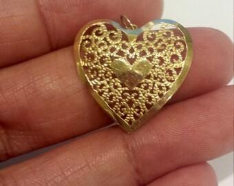 14K Yellow Gold Dainty, Feminine, Filigree Heart Pendant