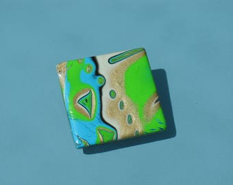 Abstract blend way mokume gane polymer clay brooch