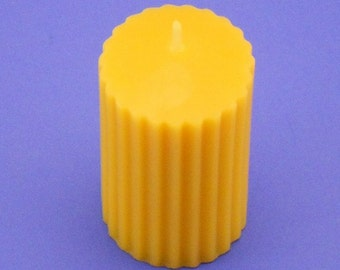 """Beeswax Candle, 2"""" x 3"""" Fluted Beeswax Candle Pillar, Pure Beeswax Candle, Great Gift Idea, Cleanse The Air, Natural Beeswax Candle Pillar"""