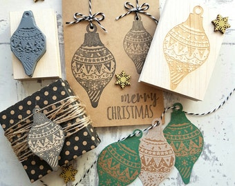 Christmas Drop Pattern Bauble Rubber Stamp  - Christmas Craft - Wrap - Decoration Stamper - Xmas - Bauble Stamp - Cardmaking - Scrapbooking