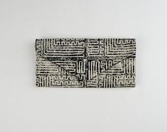 Handmade Hand Printed Maze Print - Black Block Printed Trifold Wallet - Canvas Wallet - Vegan Billfold - Clutch