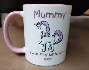Pink & White Unicorn gift Mug,Ideal for Mothers Day, Birthdays, christmas etc