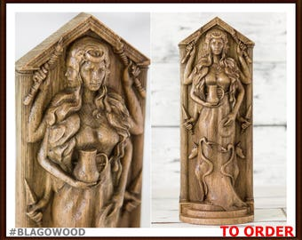 Wooden Hecate, Hekate figurine, Greek goddess, pagan goddess, wiccan, wicca, altar, druid, witcher, gaelic