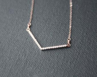 Rose Gold CZ Chevron Necklace - micro pave cubic zirconia - bar necklace